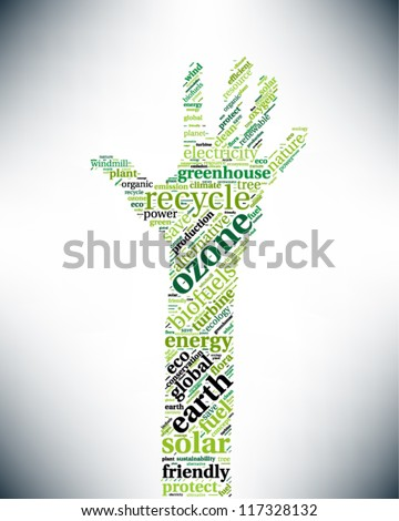 Word cloud, tag cloud text business concept. Recycling hand silhouette sign with the words on the topic of recycling, friendly, eco, environment. Word collage. Vector illustration.