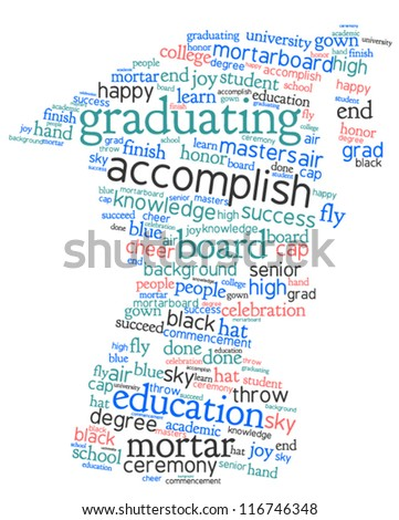 Word cloud, tag cloud text concept and arrangement  for graduation day. Word collage. Vector  illustration.