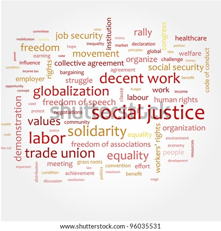 Word cloud with concept of social justice