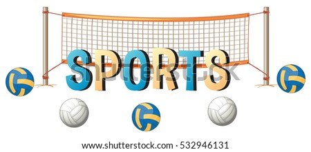 Word design for sports with ball and net illustration
