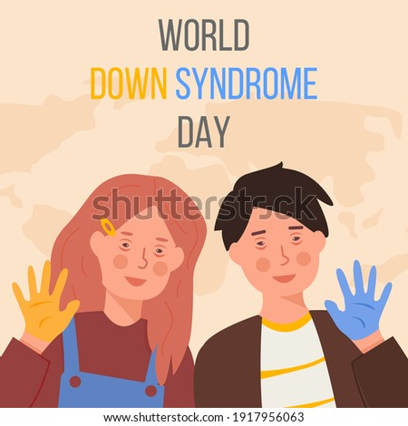 Word Down Syndrome Day on March 21. Happy smiling girl and boy with down syndrome and Yellow and blue painted hands. Trisomy 21, genetic disorder concept. Vector illustration. Web banner in flat style