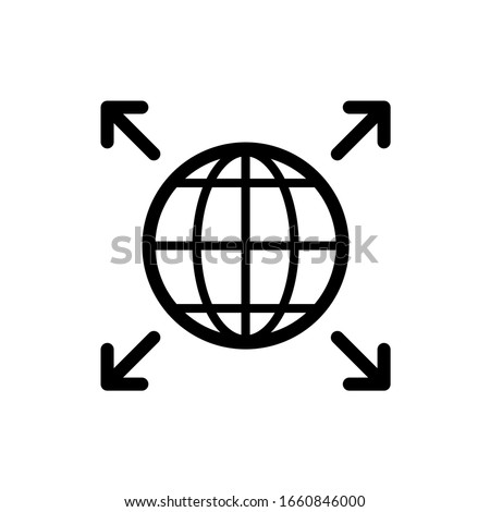 Word expansion icon. Earth globe symbol with four corner arrows. Grow over the world. Foto d'archivio ©