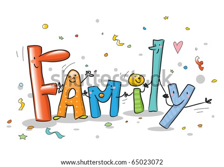 Word family with funny colorful cartoon letters isolated on white