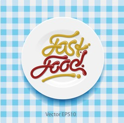 Word fast food - made up of yellow and red sauce on a white plate, vector Eps10 illustration.