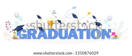 Word graduation typography vector concept on white background. Graduate caps thrown up. Congratulation graduates 2020 class of graduations. Flat cartoon design of greeting, banner, invitation card.