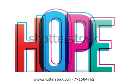 Word hope isolated on white background