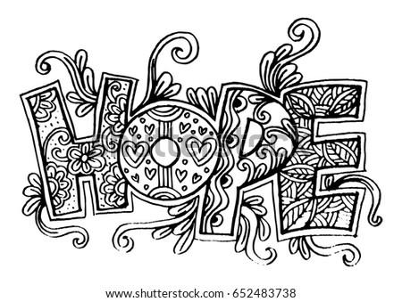 Word hope zentangle stylized