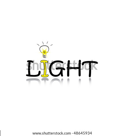 word Light with a bulb isolated on white background