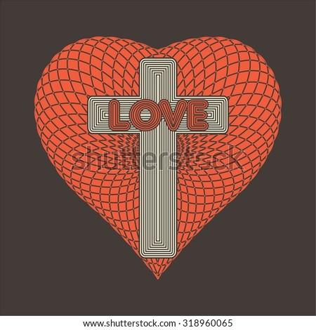 Word love in cross on heart icon