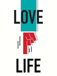 Word LOVE LIFE vector illustration