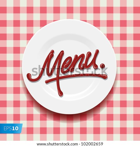 Word Menu - made up of red sauce on a white plate, vector Eps10 illustration.
