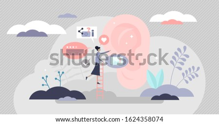 Word of mouth authentic reliable source marketing, flat tiny person vector illustration. People to people information exchange. Client satisfaction resulting in new referrals and sales growth stats.