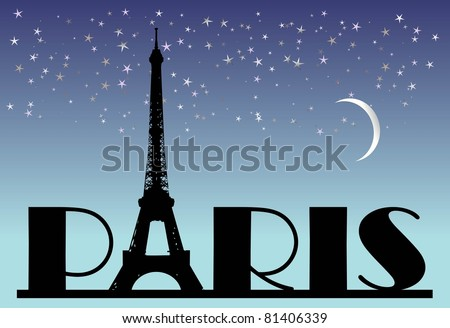 word Paris on the night background