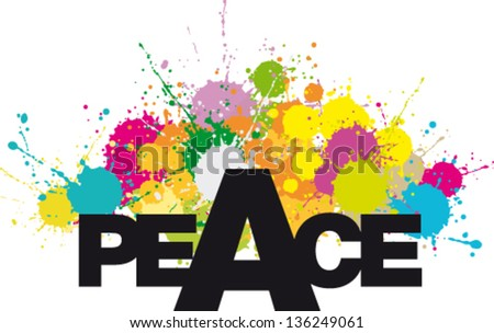 Word PEACE with multicolor stains and splashes