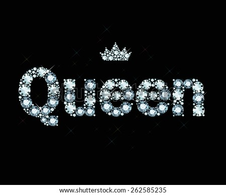 word queen made of diamonds