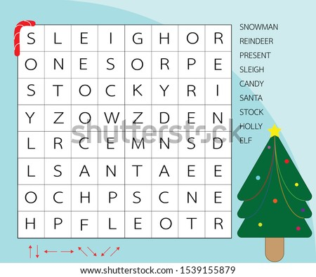 Word search puzzles. Education game for children. Vector worksheet for learning english about chrismas day.