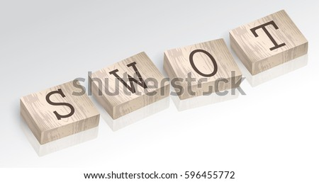 Word SWOT composed from alphabet blocks, vector illustration