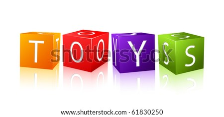 word toys composed from letter cubes. illustration isolated on white background
