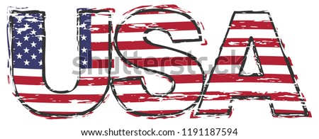 Word USA with american flag under it, distressed grunge look.