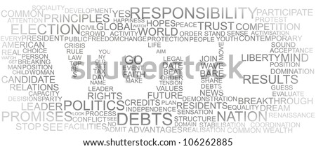 Word vote made of different important statement words - stock vector