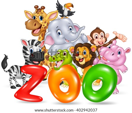 Word zoo with happy cartoon wild animal africa