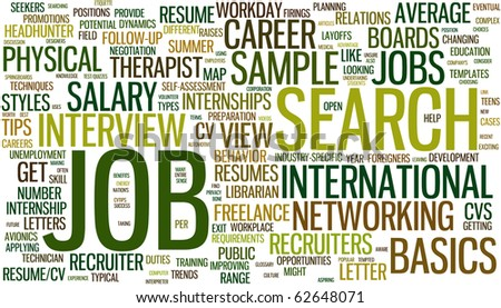 Wordcloud with conceptual job search related words