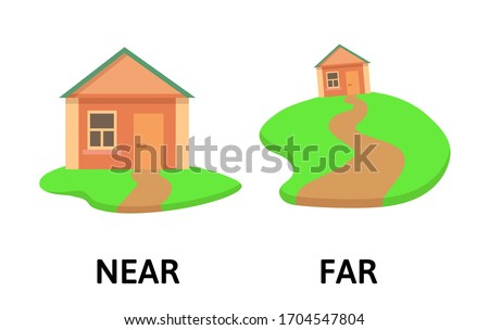 Words far and near opposites flashcard with cartoon house. Opposite adverbs explanation card. Flat vector illustration, isolated on white background. Foto stock ©