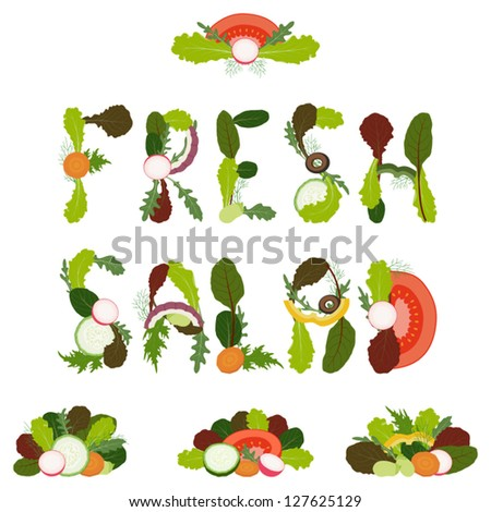 "Words ""fresh salad"" written with sliced vegetables and mixed salad leaves on white background"