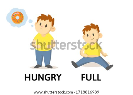 words hungry and full flashcard