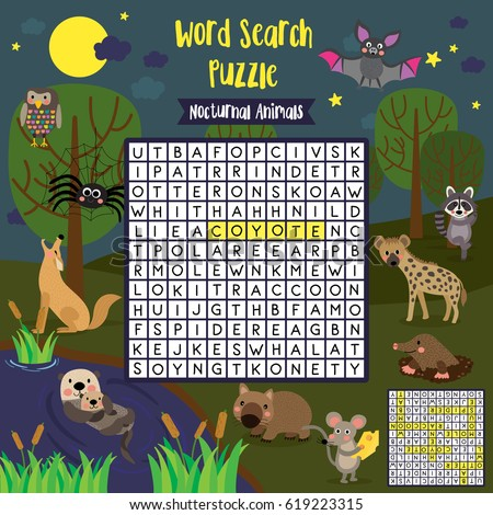 Shutterstock Words search puzzle game of nocturnal animals for preschool kids activity worksheet colorful printable version. Vector Illustration.