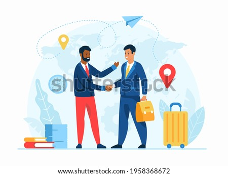 Work abroad concept flat vector illustration. Human resources agency. Male cartoon character employer welcomes new foreign worker. International recruiting. Expat work. Job for migrants Photo stock ©