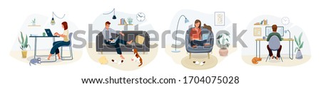 Work at home concept design. Freelance woman and man working on laptop with pets at their house, dressed in home clothes. Vector illustration set isolated on white background.