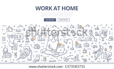 Work at home concept. Woman freelancer, sitting cross-legged, works for computer remotely from home. Home bases, part time job. Doodle illustration for web banners, hero images, printed maters