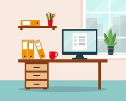 Work at home concept. Workplace with desk and computer. Home office, freelance or online working background. Vector illustration.