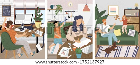 Work at home office problems and disturbance. Children and pet disturb working at home parents. Vector illustration in cartoon style. Remote workplace in kitchen