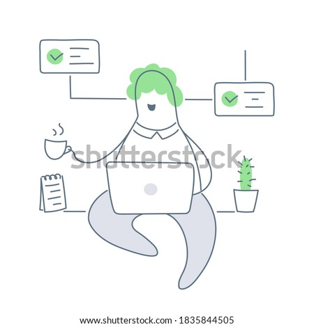 Work at home, or at a cozy office. Cute cartoon man sitting with a mug and laptop, around him are cactus, notepad, completed tickets. Distant work, freelance, remote product development. Line vector