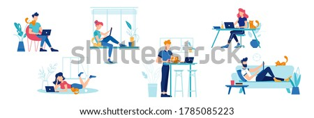 Work at home, people at home office, freelance and online, vector flat illustrations set. Men and women working at home with laptop, sitting a table or sofa, freelancer workers