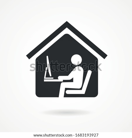 Work at home. Professional working on computer at home. Working Icon vector.