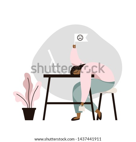 Work burnout. Tired female worker sitting at the table. Long working day in the office. Mental health problem. Flat vector illustration.