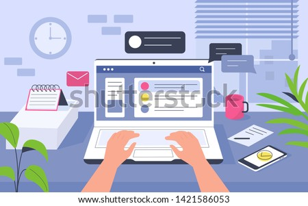 Work desk in office. Can use for backgrounds, infographics, hero images. Flat modern vector illustration.