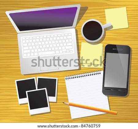 Work desk, vector