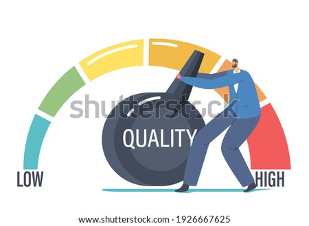 Work Efficiency Management Solution for Success. Tiny Businessman Character Pull Huge Lever Arm to Increase Level Quality and Customers Feedbak Rate Evaluation. Cartoon People Vector Illustration Stock photo ©