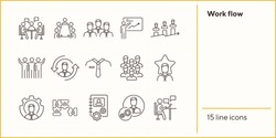 Work flow icons. Puzzle of workers, diagram, men speaking. Job concept. Vector illustration can be used for topics like work, business, job