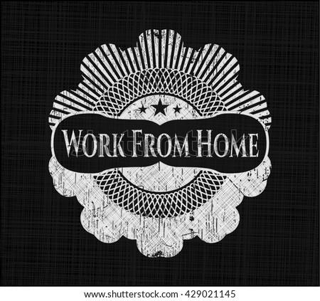 Work From Home chalk emblem written on a blackboard