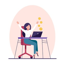 Work from home concept, A young happy woman making money on internet. Freelancer.