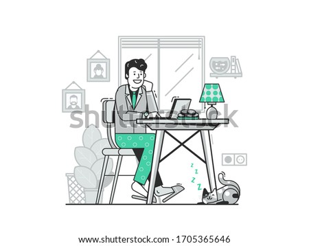 Work from home concept with happy young man in suit and pajama using laptop. Cheerful freelancer guy working online buy night on internet. Self isolation remote job illustration with employee and cat. stock photo