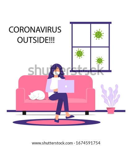 Work from home during an outbreak of the COVID-19 virus. People work at home to prevent virus infection. Woman working on the couch with a cat. Girl in a mask works on a laptop at home.