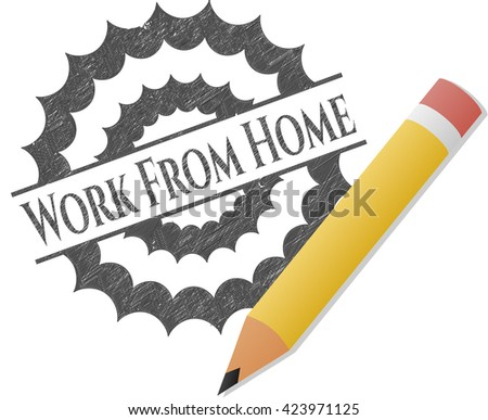 Work From Home emblem draw with pencil effect