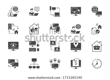 Work from home flat icons. Vector illustration included icon as freelance worker with laptop, workspace, pc monitor, business black silhouette pictogram for online job