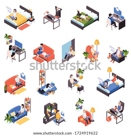 Work from home isometric icons set with distant teamwork remote time management messaging from bed vector illustration